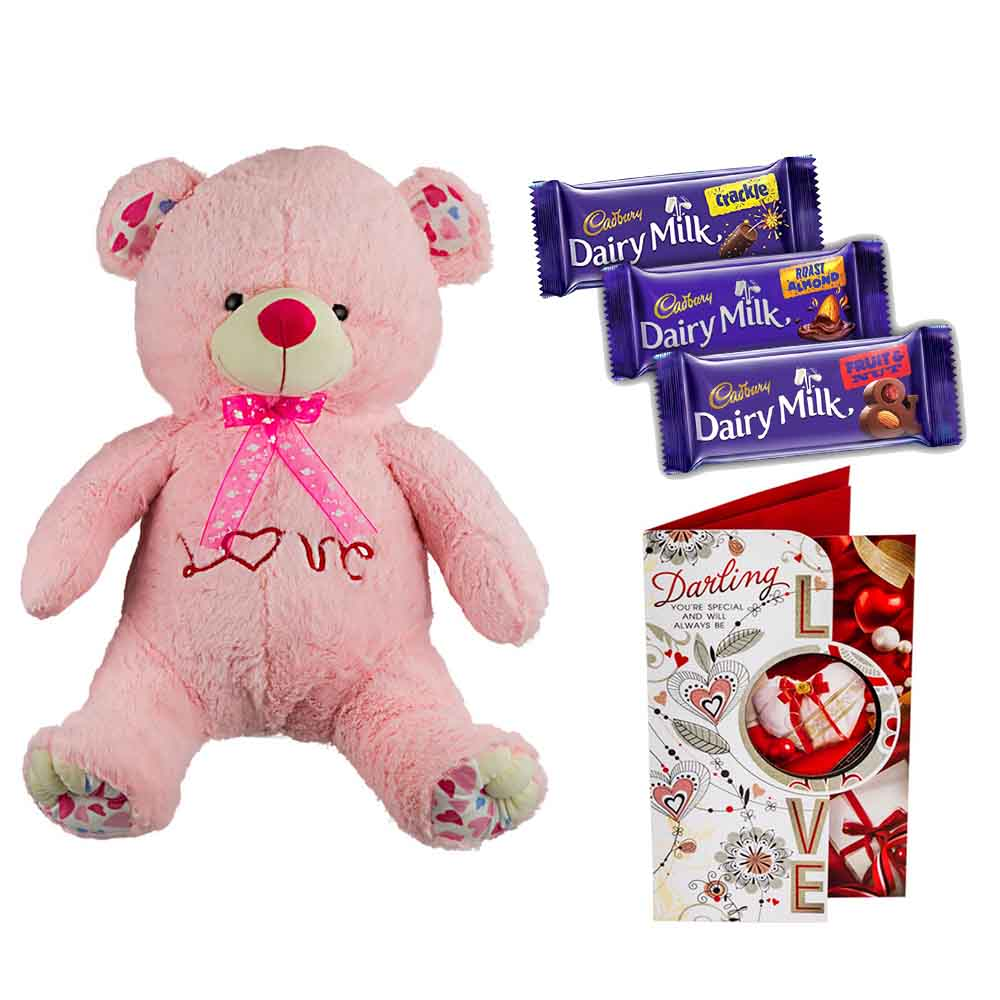 Cadburys Chocolates with Cuddly Grand Pink Bear