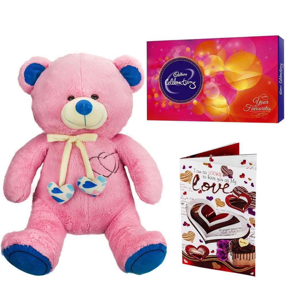 Cadburys Celebrations with Cuddly Grand Pink Blue Bear