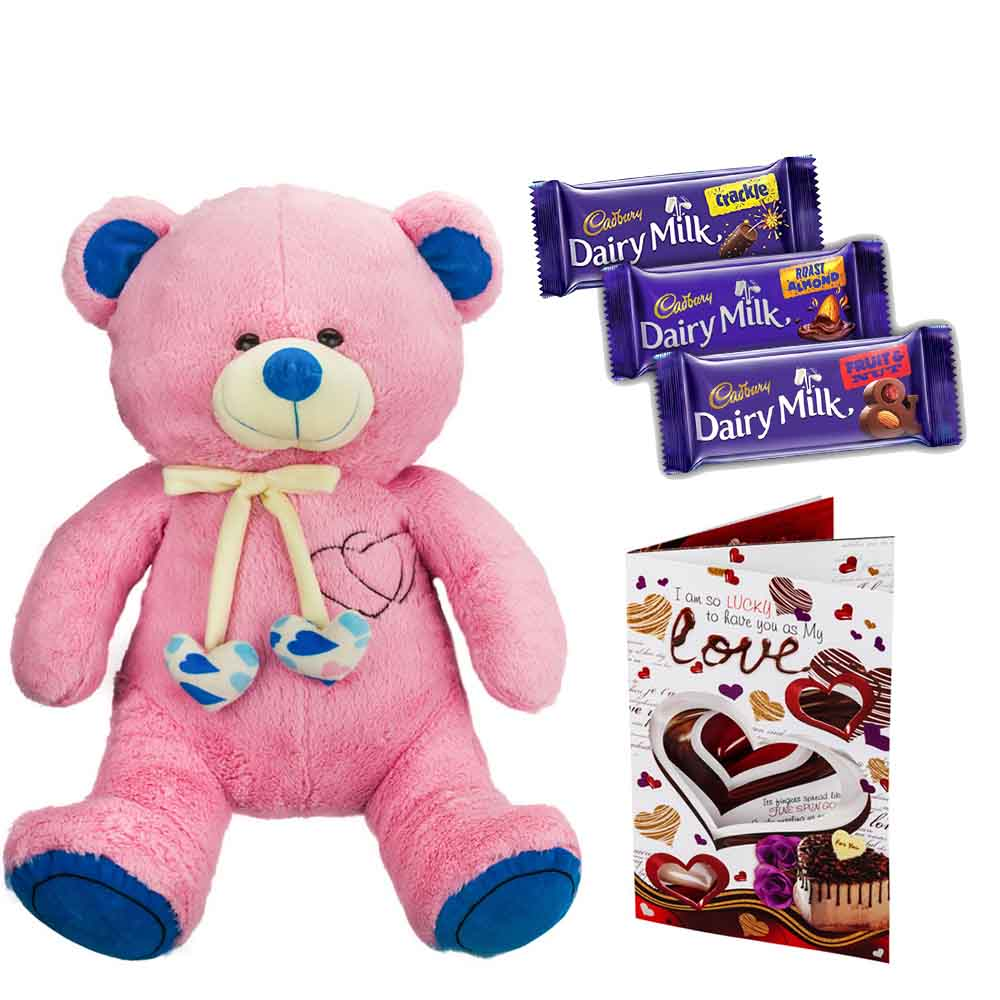 Cadburys Chocolates with Cuddly Grand Pink & Blue Bear
