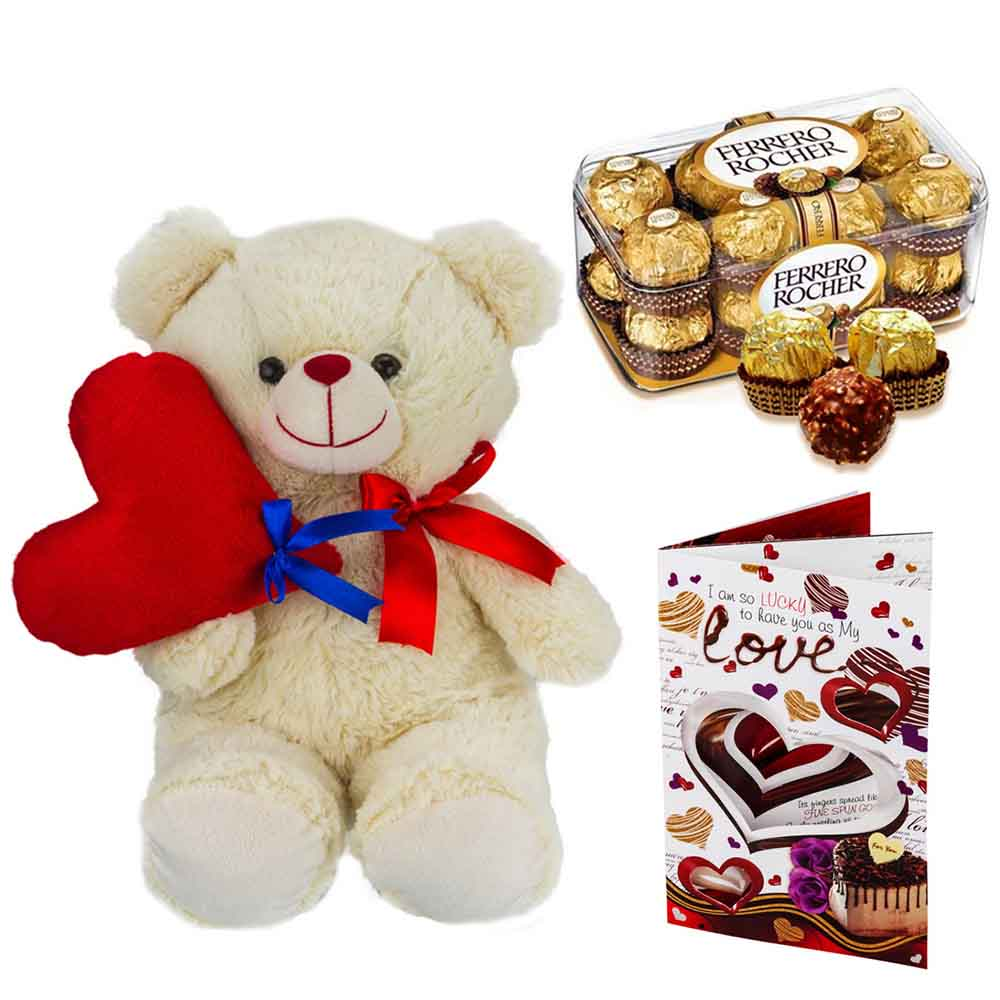 Ferero Rocher with Cuddly Bear holding Heart