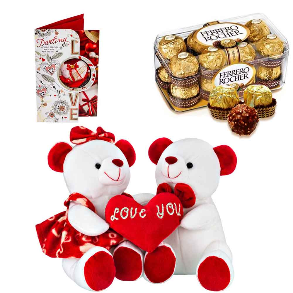 Ferero Rocher with Cuddly Teddy Pair with Heart