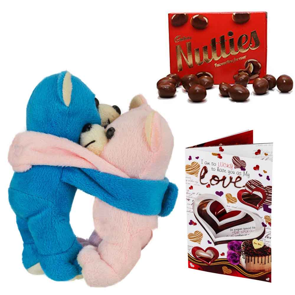 Cadburys Nutties with Hugging Teddy Pair with Heart