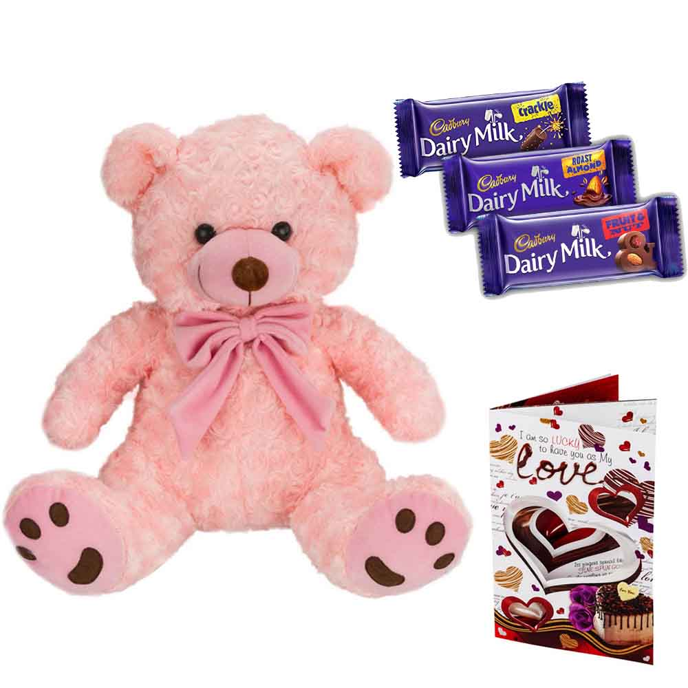 Cadburys Chocolates with Cuddly Pink Bear