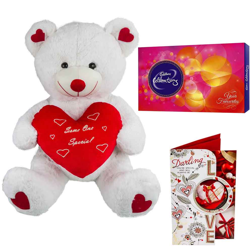 Cadburys Celebrations with Cuddly White & Red Bear holding Heart