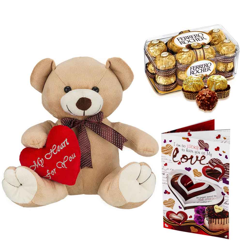 Ferero Rocher with Cuddly Brown Bear with Heart on Sleeve
