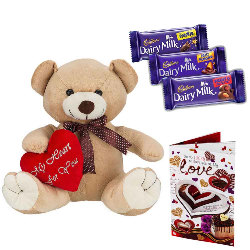 Cadburys Chocolates with Cuddly Brown Bear with Heart on Sleeve