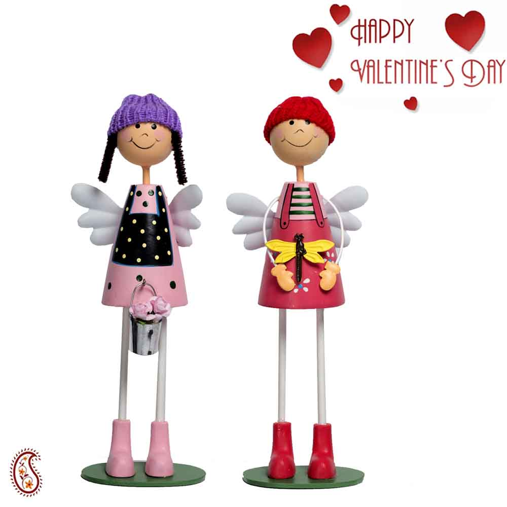 Charming & Adorable Multicolor Twin Dolls with Valentine's Card