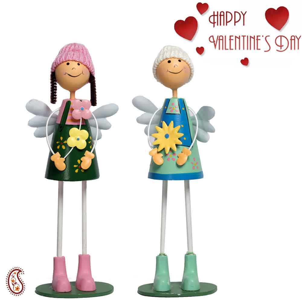 Green & Blue Adorable Pair of Dolls with Valentine's Card