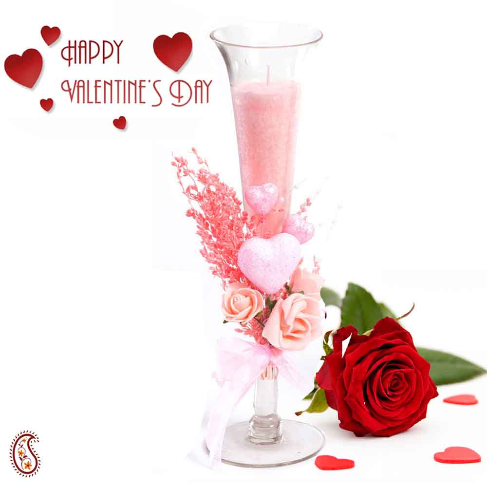 Charming Light Pink Shade Candle Stand with Free Rose