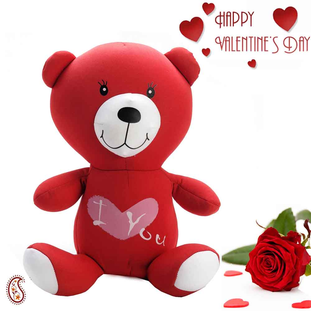Sweet Little Red Teddy with Free Rose