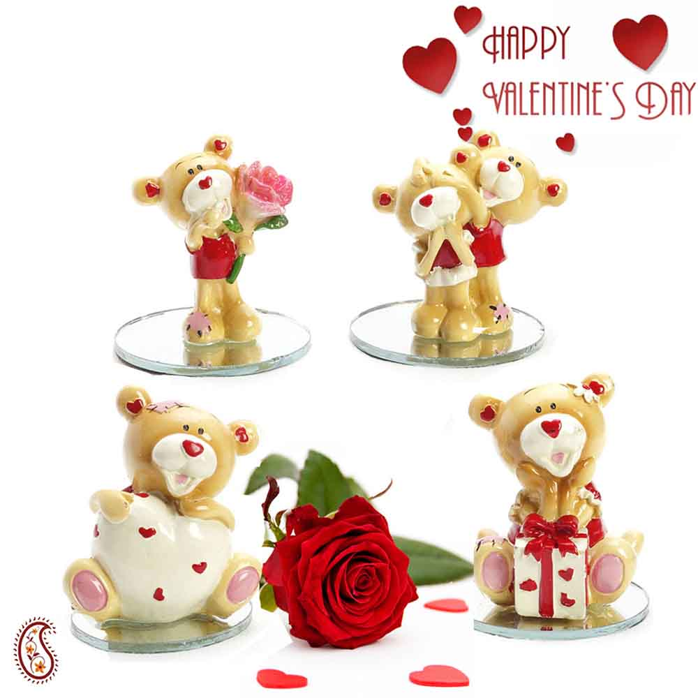 Romantic Teddy Bear Set with Mirror Discs & Free Artificial Rose