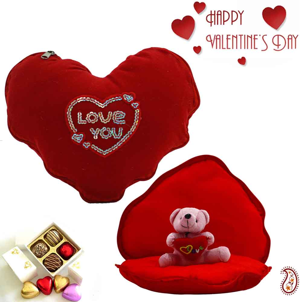Lovable Heart Shape Cushion with Inside Teddy