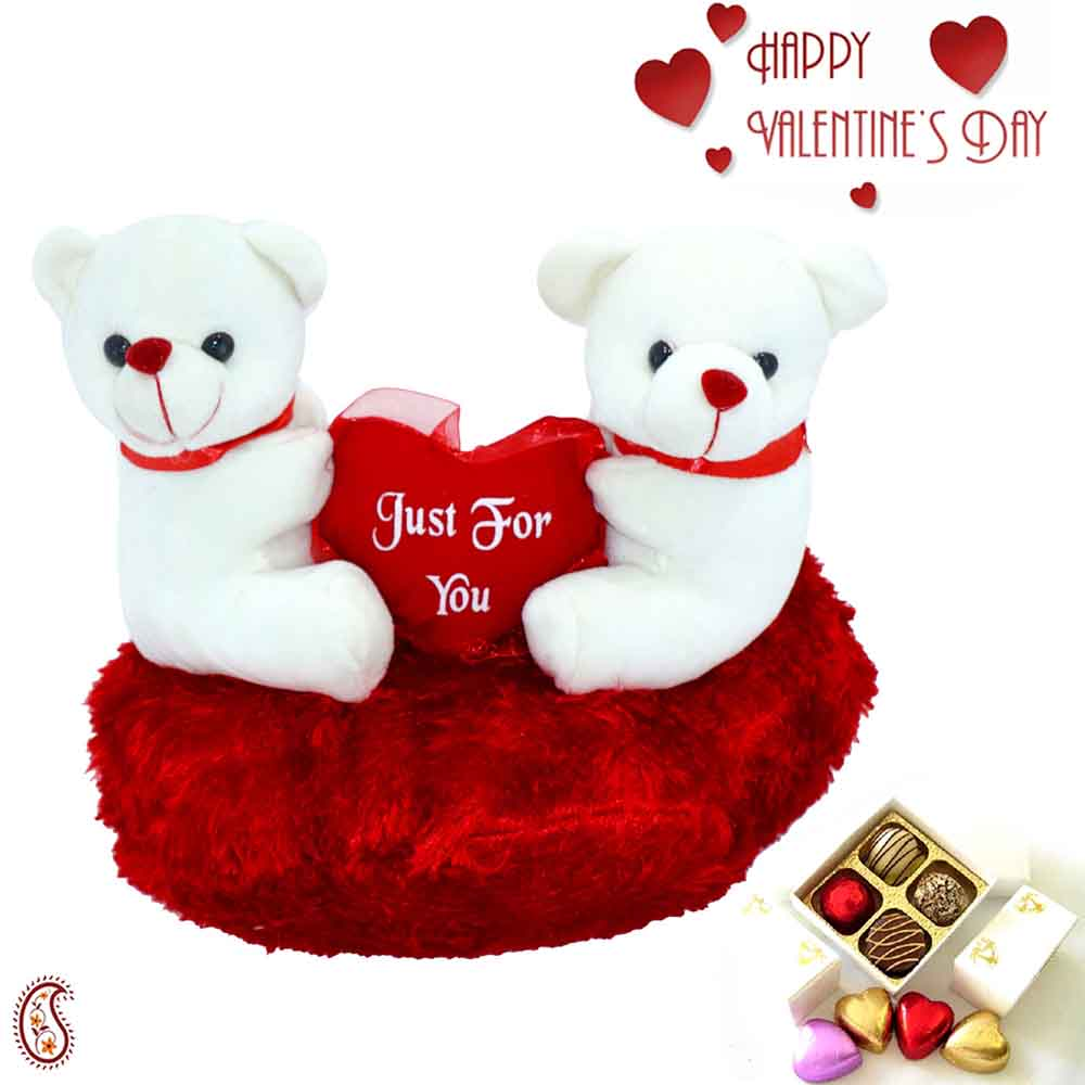 Lovely Twin Teddy with Just for You Message