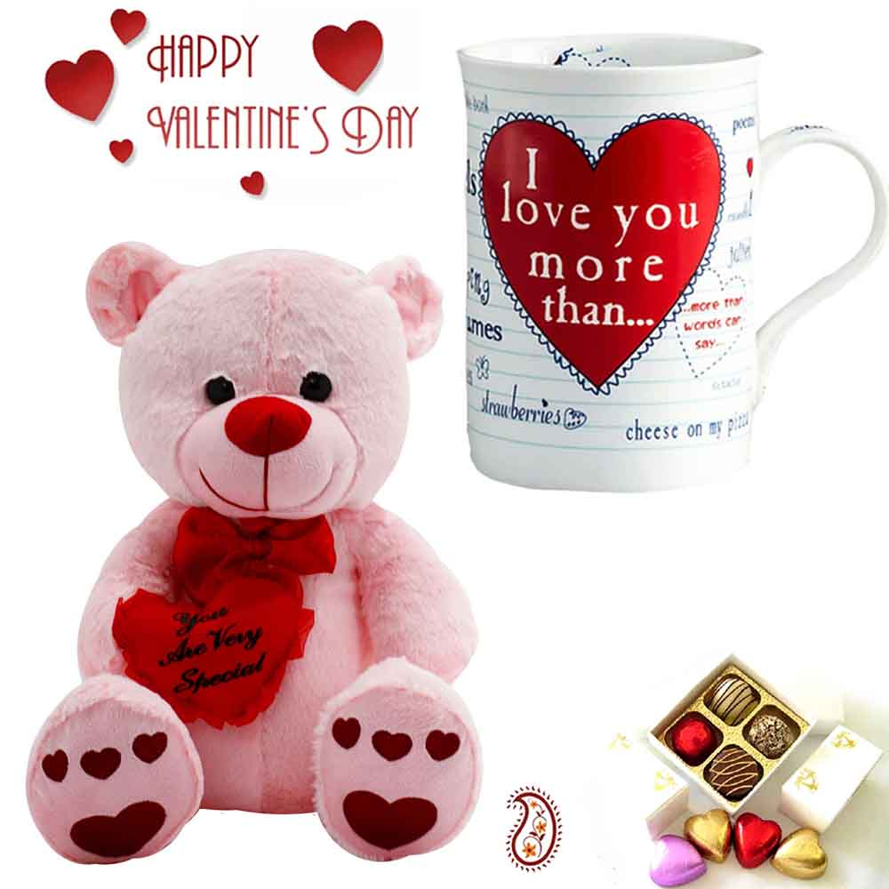 Beautiful White & Pink Teddy & Mug with You are very Special Message