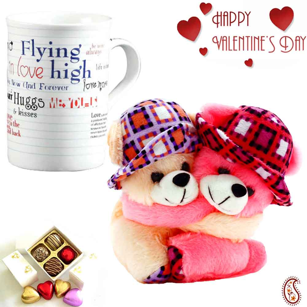 Sweet Twin Teddy & Love Message Mug