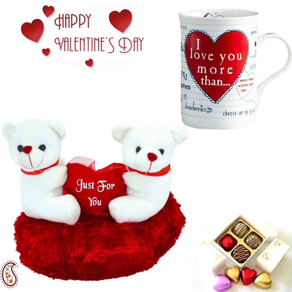 Cute Little Twin Teddy Cushion & Love Message Mug