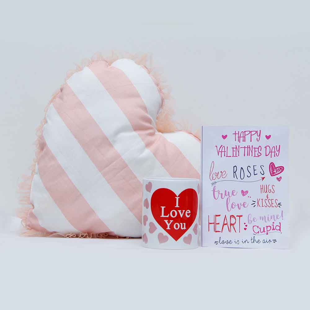 View Heart cushion & Greeting card with Mug for Valentine