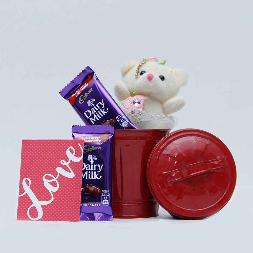 View Teddy with chocolate combo for Valentine day