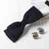 Black Bow Tie with Royal Cufflinks