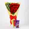 12 Red Carnations & Dairy Milk Silk Combo