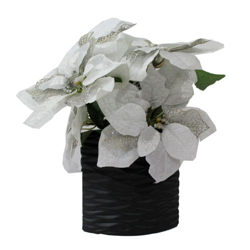 White Pointsettia Artificial Arrangement