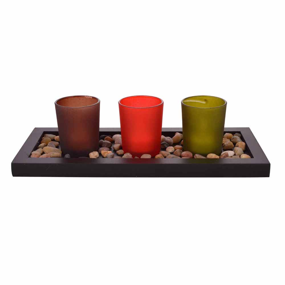 Multicolor Solid Tealight Holders with Decorative Tray!