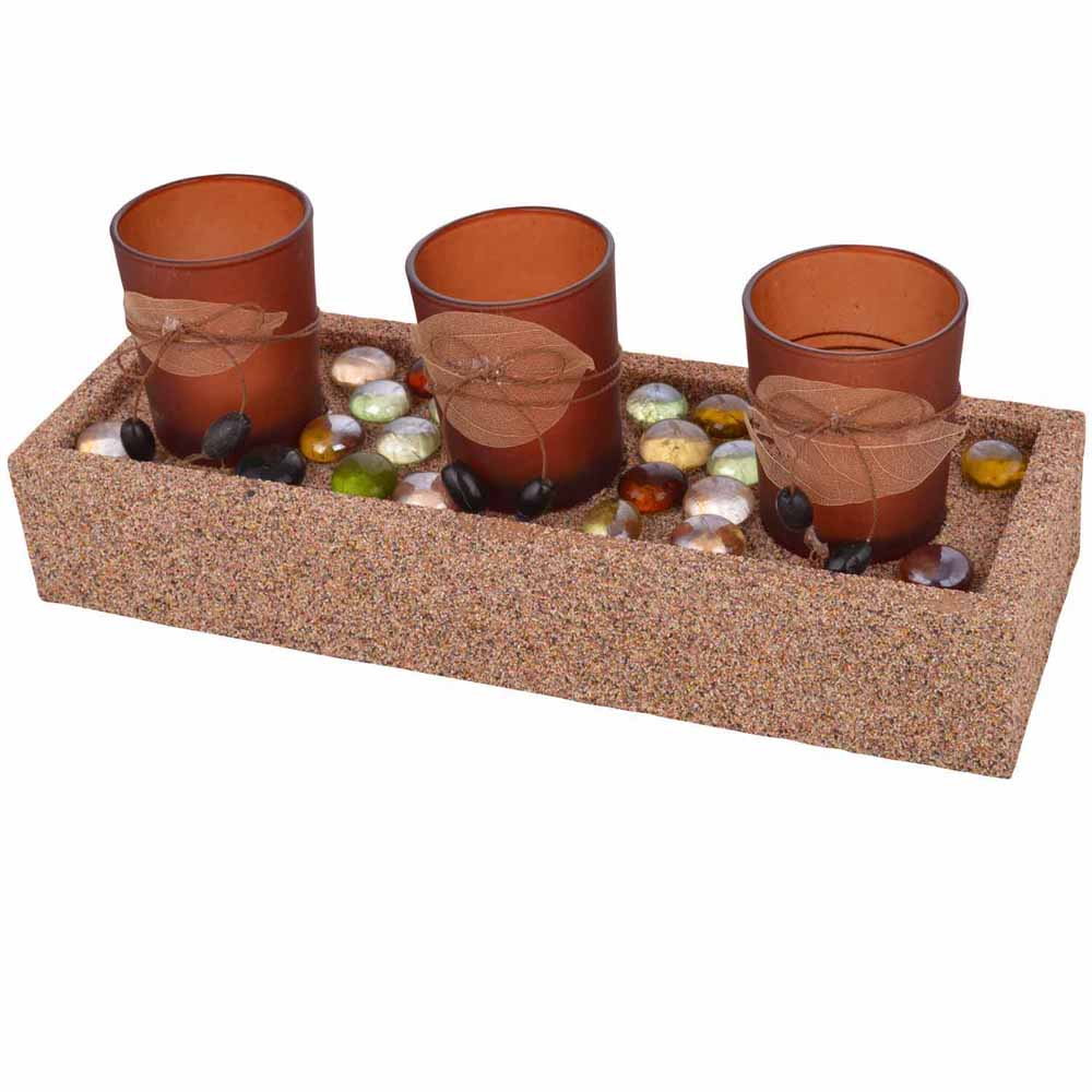 Elegant Brown Tealight Holders with Stylish Tray!