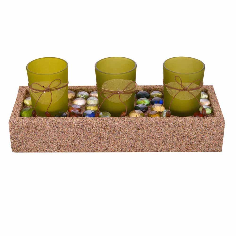 Beautiful Green Tealight Holders with Stylish Tray!