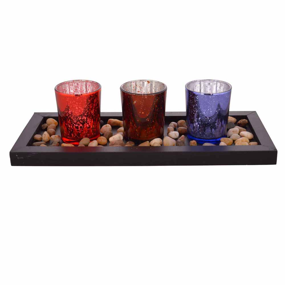 Multicolor Textured Tealight Holders with Tray!