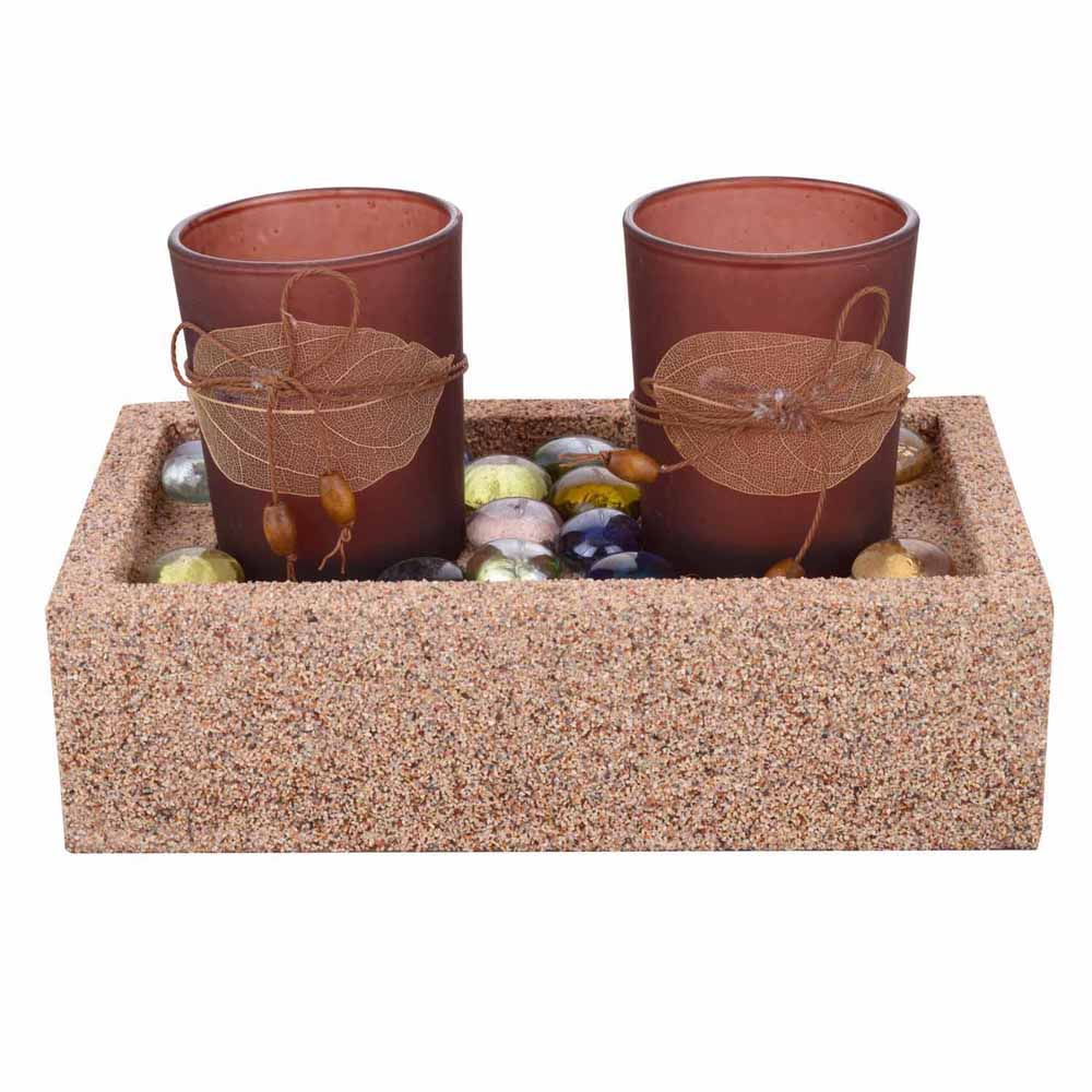 2 Brown Tealight Holders with Charming Tray!