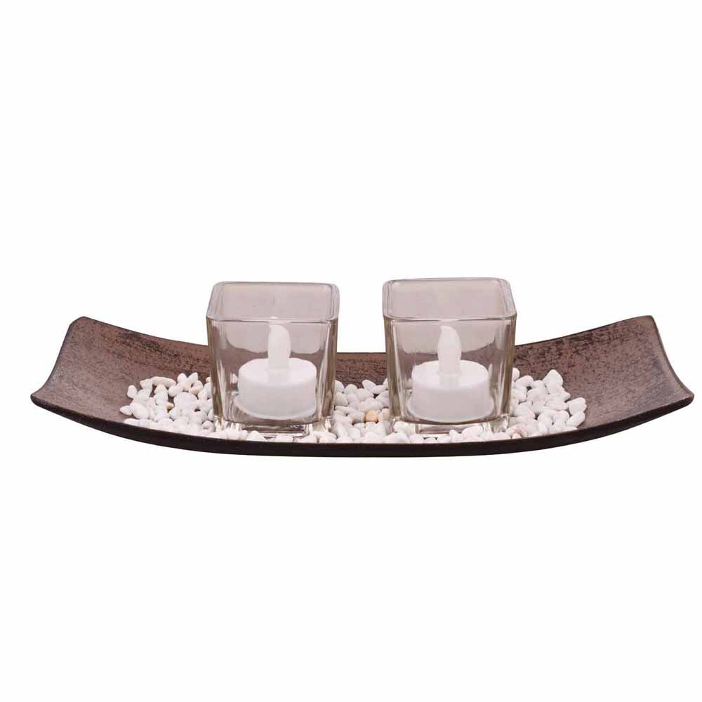 2 Square Transparent Tealight Holders with Stylish Tray!