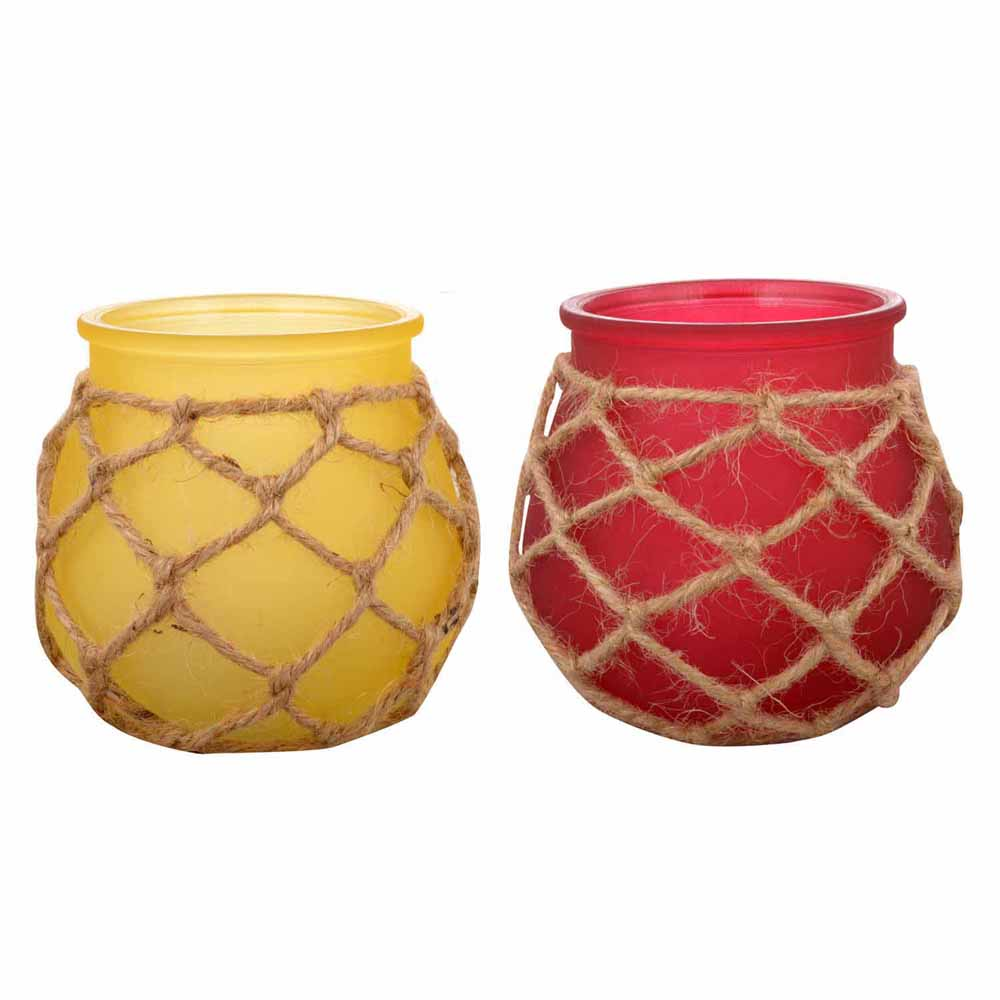 Yellow & Pink 2 Pot Shape Tealight Holders!
