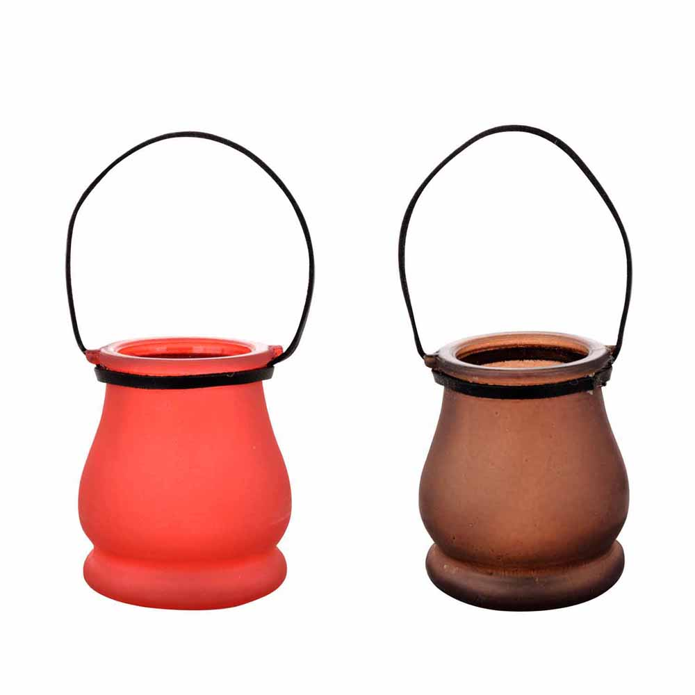 Red & Brown 2 Lantern Style Tealight Holder!