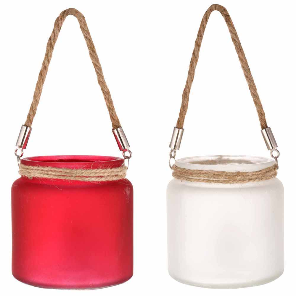 Red & White 2 Hanging Bucket Style Tealight Holders!