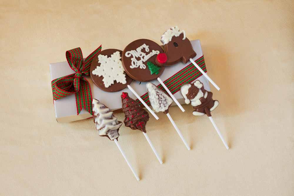 Assortment of Christmas Chocolate lollipops
