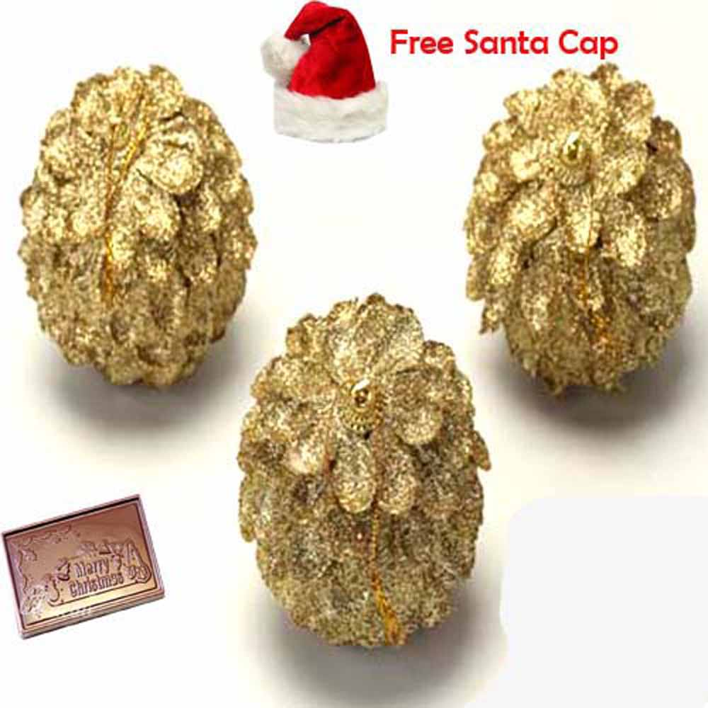 Golden Pine Cones with Christmas Chocolate Bar