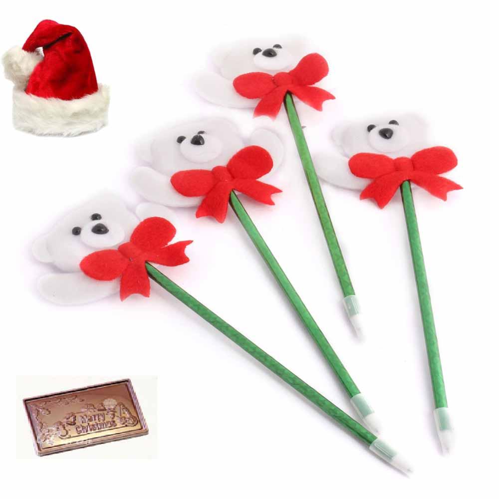 Set of 4 Snow Teddy Pens with Christmas Chocolate Bar