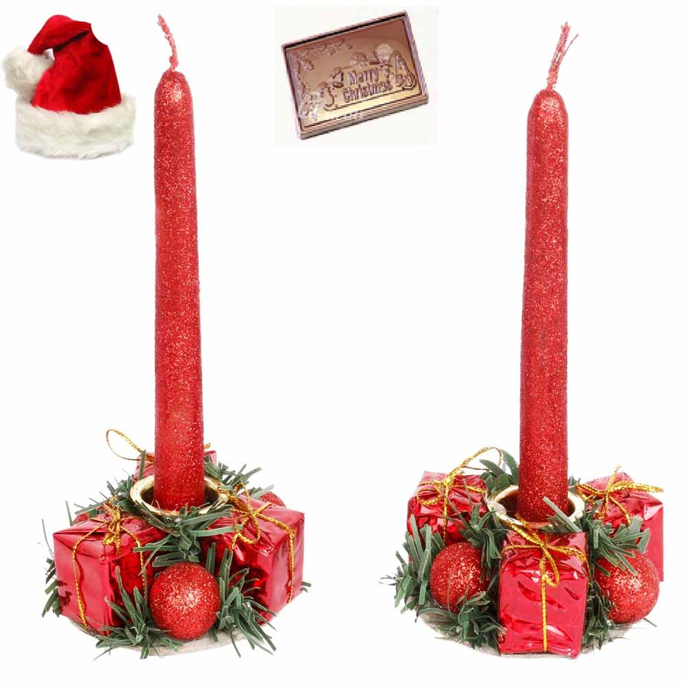 Set of 2 Candle Stands with Candles with Christmas Chocolate Bar