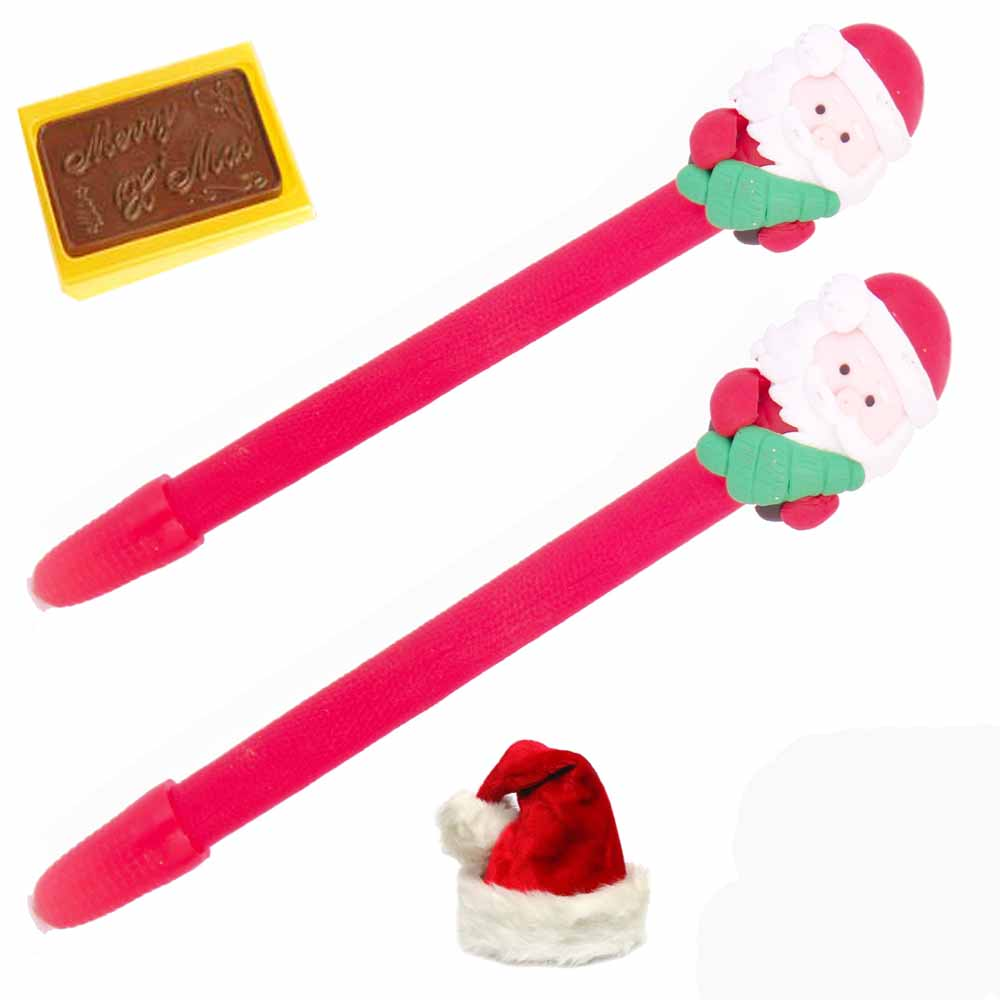 Set of 2 Santa Pens with Christmas Chocolate Bar