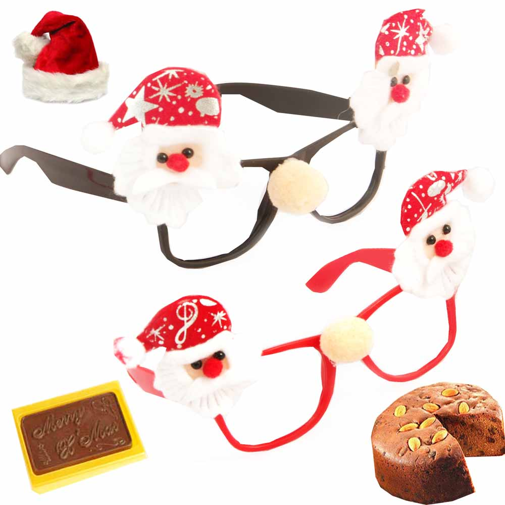 Set of 2 Santa Specs with Christmas Chocolate Bar