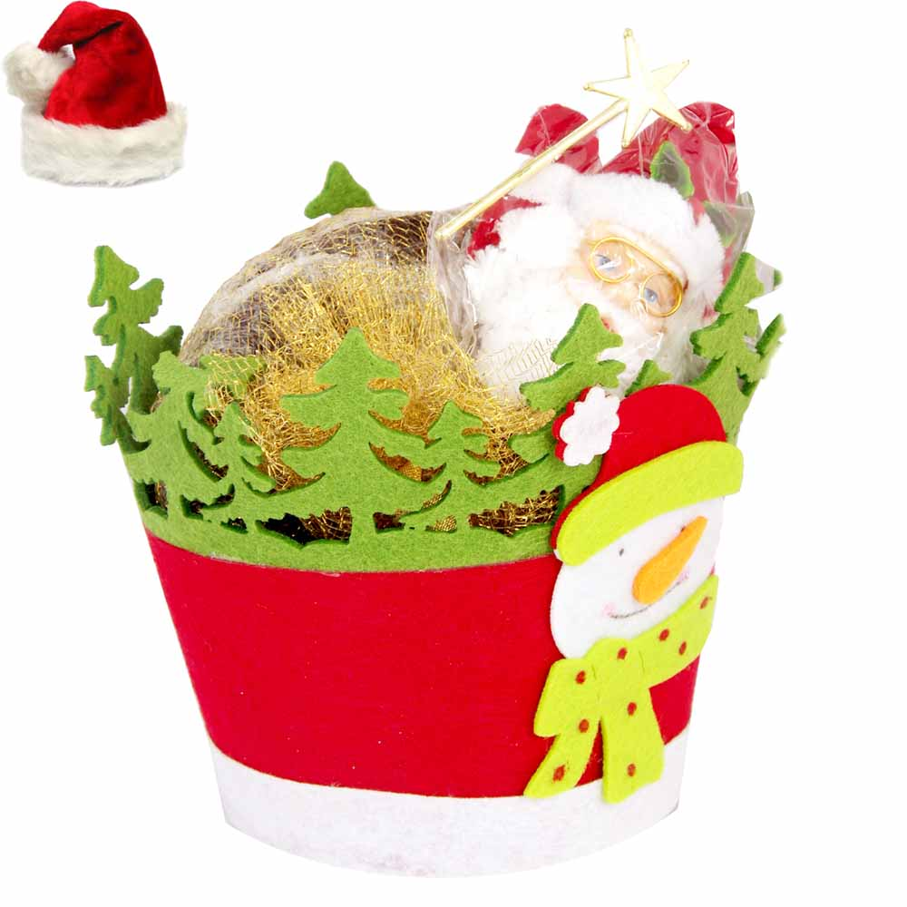 Christmas Basket Plum Cake Hamper with Santa Bell