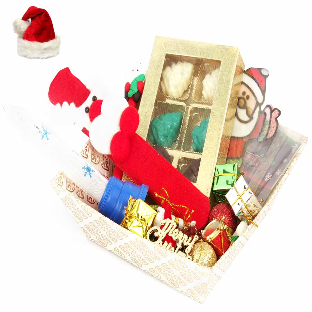 Christmas White Basket Chocolate Hamper