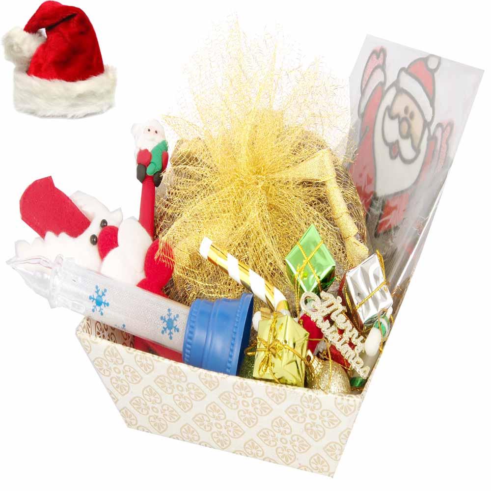 Christmas White Basket Plum Cake Hamper