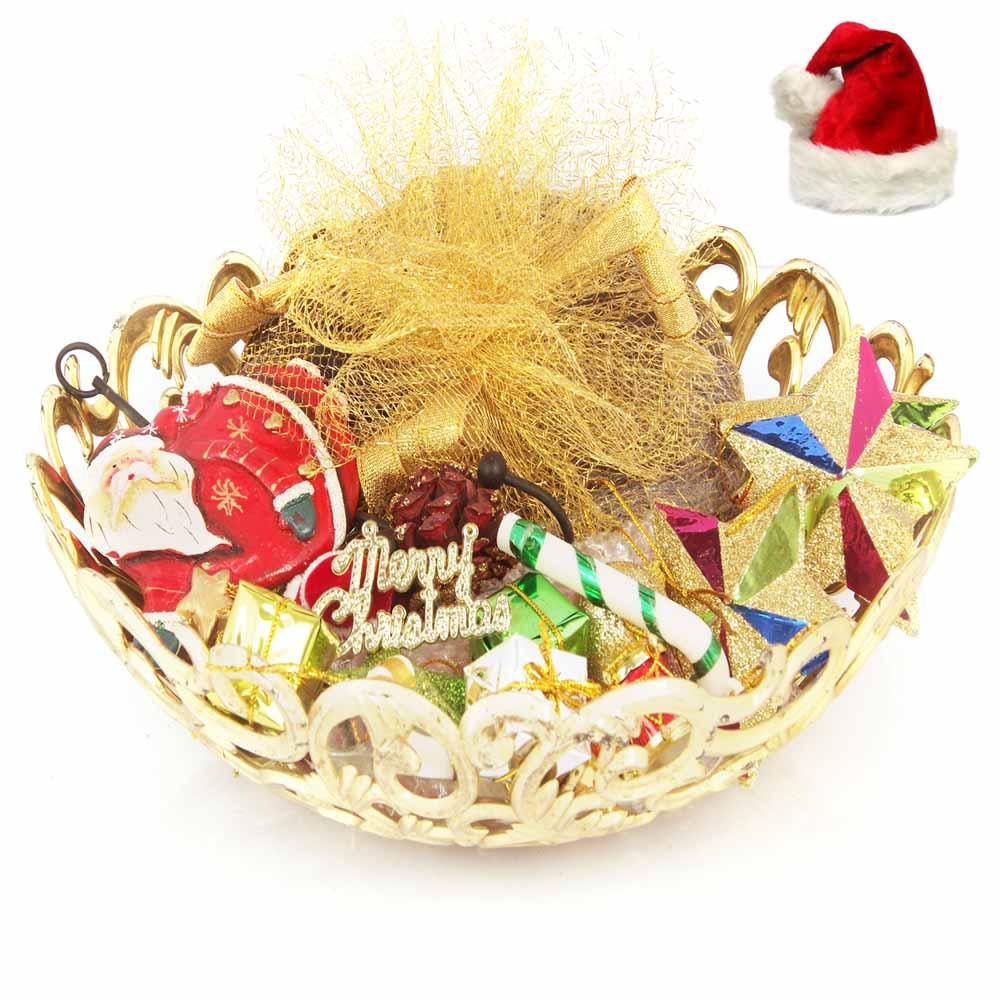 Christmas Golden Basket Plum Cake Hamper