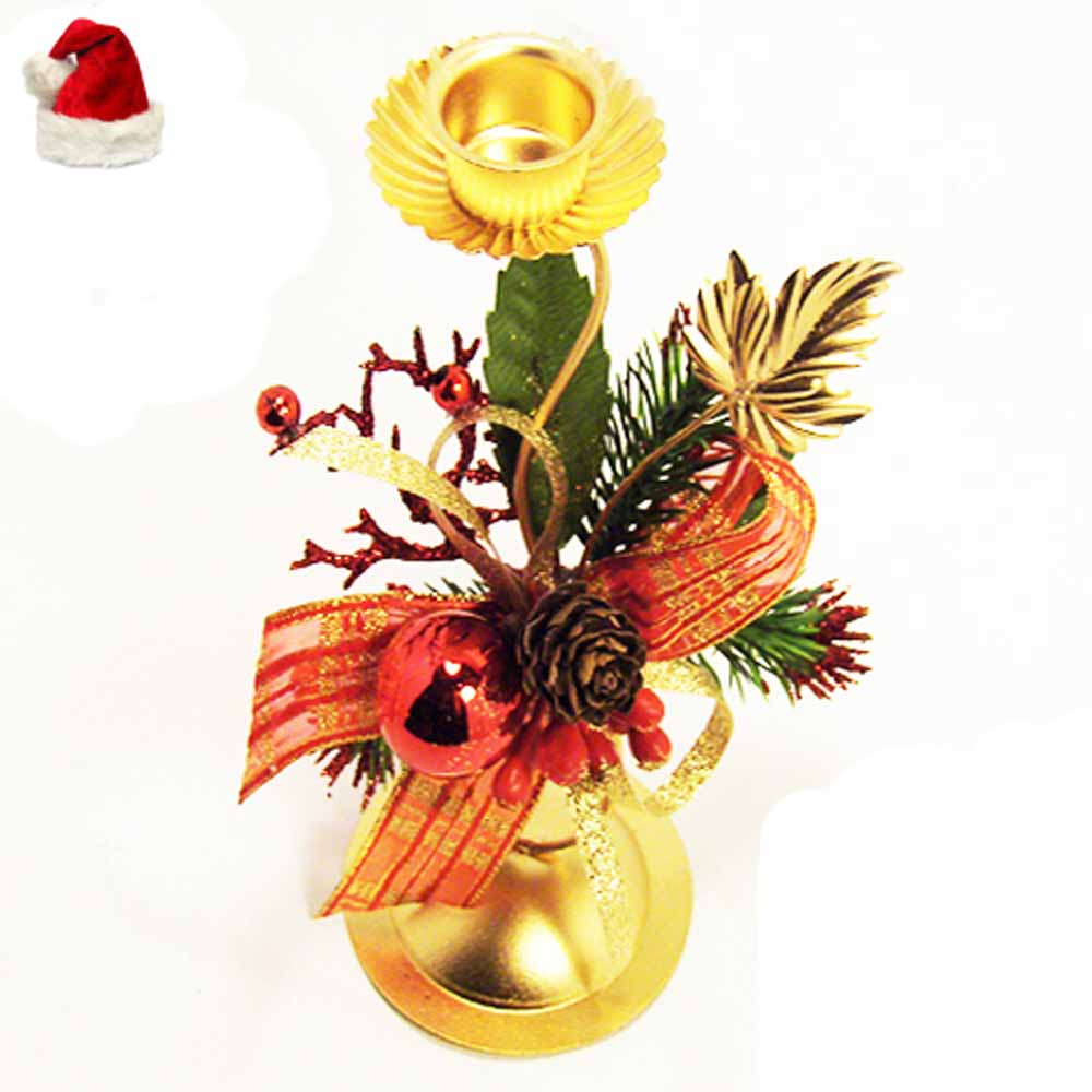 Christmas Candles-Golen Candle Holder