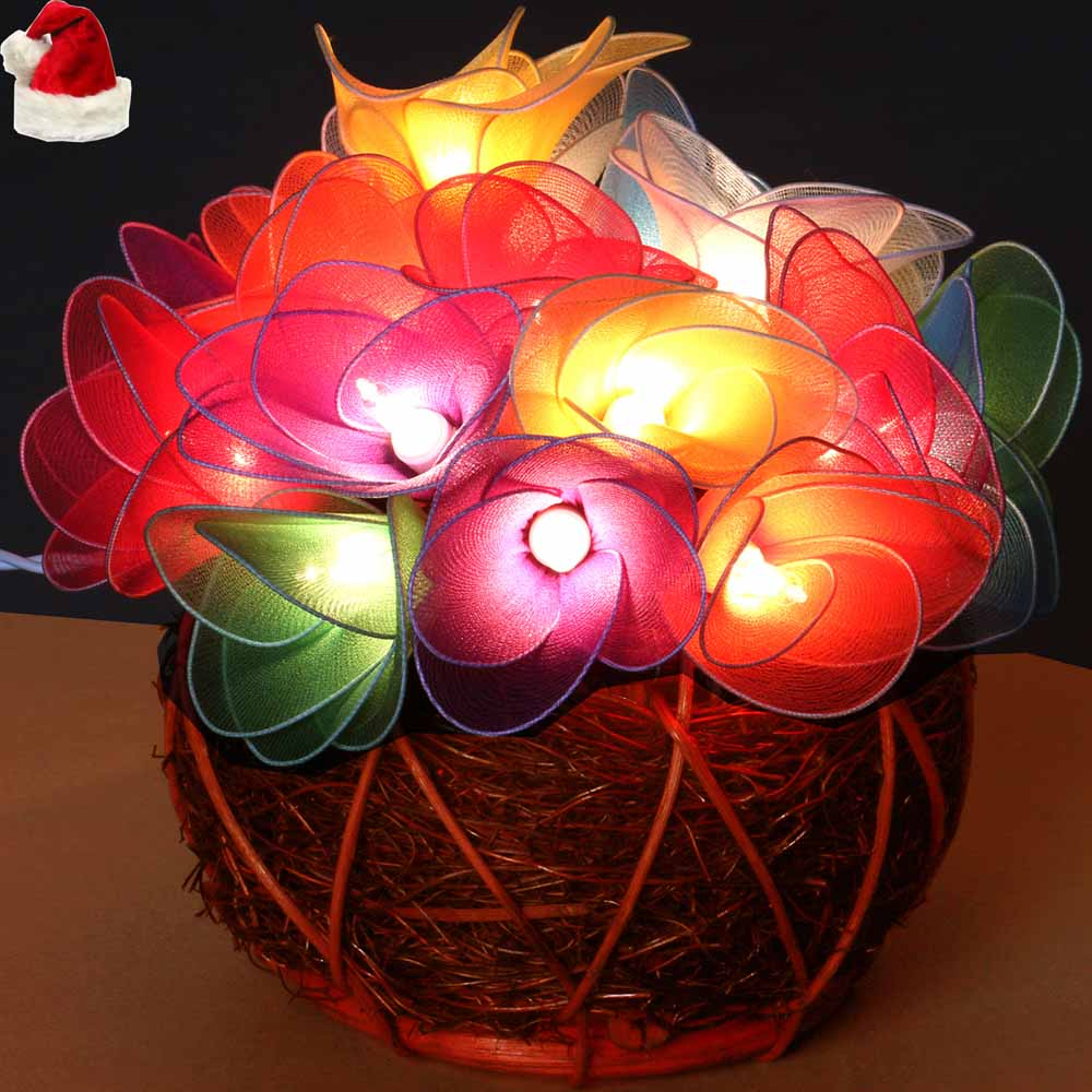 Christmas Light - Flower Lights with Wooden Pot