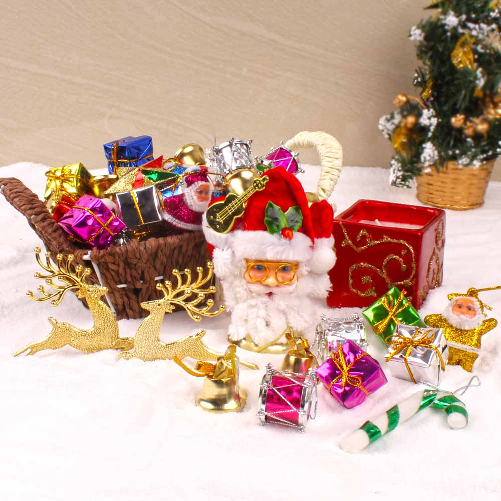 Exclusive Basket of Christmas Tree Ornaments with Candle