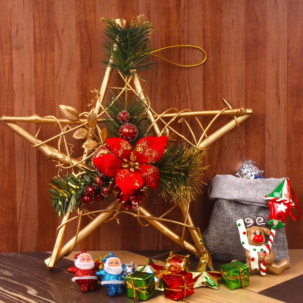 Christmas Decorations-Christmas Tree Ornaments with Star Wreath