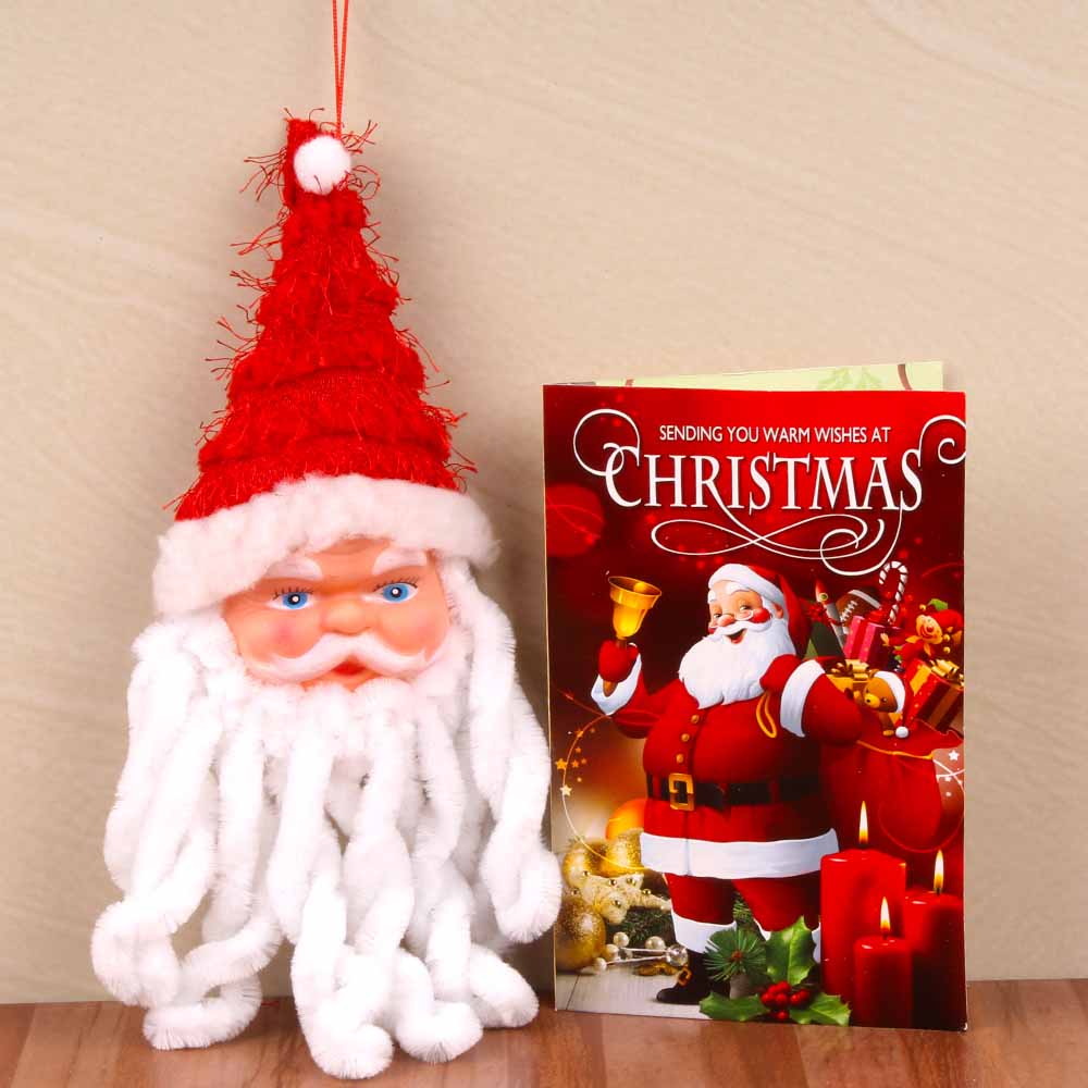 Cute Santa Claus Face with Christmas Greeting Card