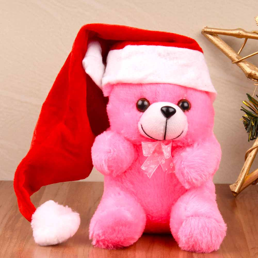 Teddy Soft Toy with Santa Cap